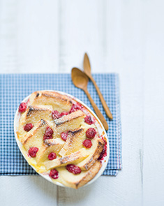 Bread and butter pudding aux framboises